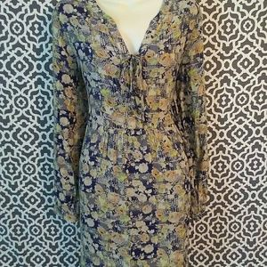 Skies are blue long sleeve floral fall dress large